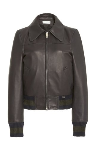 Knit-Trimmed Leather Bomber Jacket