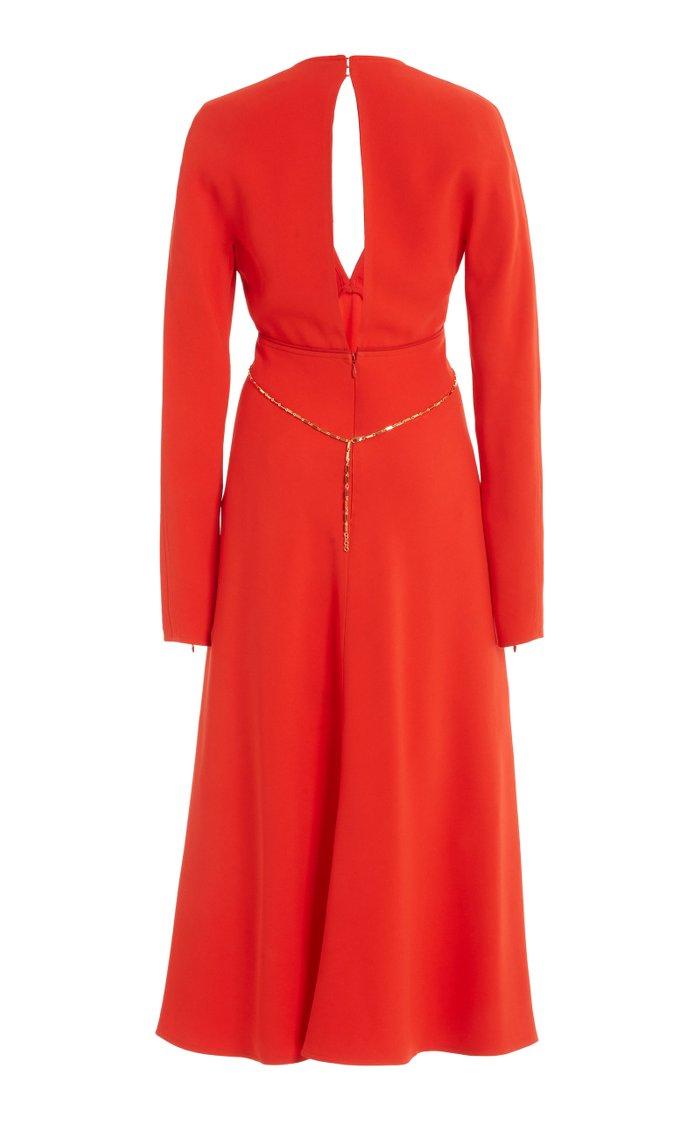 Keyhole Crepe Midi Dress