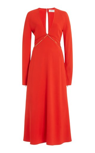 Keyhole Crepe Midi Dress