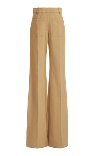 Cotton-Blend Twill High-Rise Flared-Leg Trousers