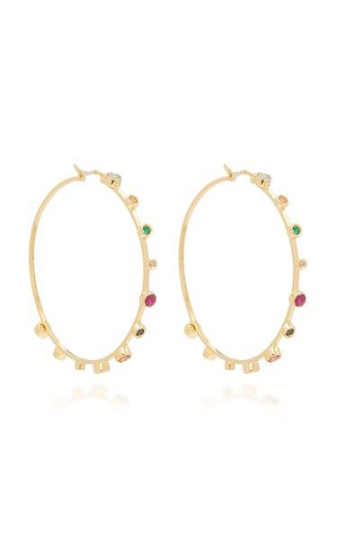 18K Yellow Gold Multi-Stone Hoop Earrings