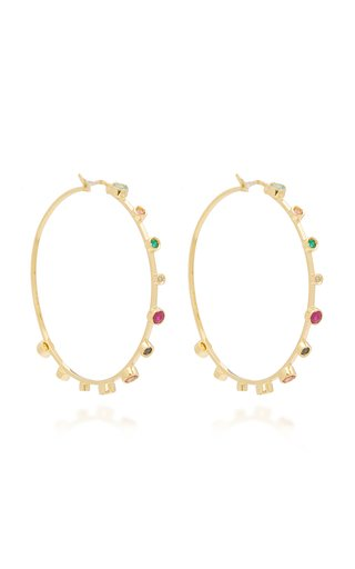 18K Yellow Gold Multi-Stone Hoop Earrings