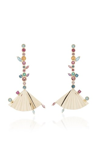 Plissé 18K Yellow Gold Multi-Stone Earrings