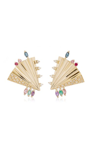 Plissé 18K Yellow Gold Multi-Stone Earrings