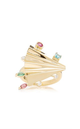 Plissé 18K Yellow Gold Multi-Stone Ring