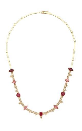 Pink 18K Yellow Gold Ruby, Tourmaline and Diamond Necklace
