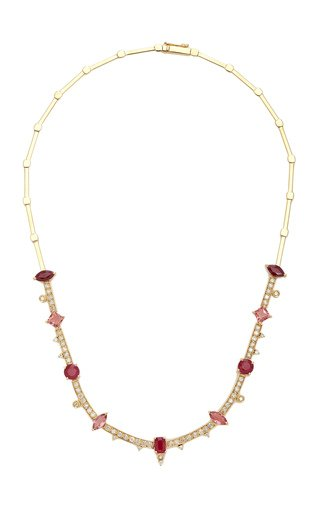 Pink 18K Yellow Gold Ruby, Tourmaline and Diamond Necklace