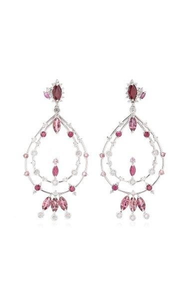 Pink 18K Yellow Gold Multi-Stone Earrings