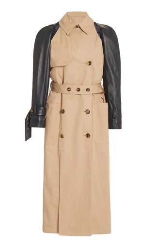 Belted Leather-Sleeve Cotton-Gabardine Trench Coat