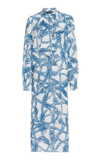 Draped Rope-Printed Silk Dress