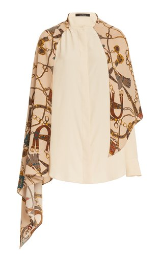 Draped Scarf-Accented Silk Blouse