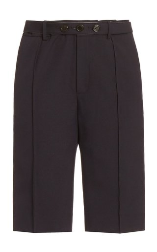 Belted Wool-Blend Knee-Length Shorts