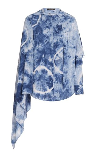 Scarf-Accented Tie Dyed Blouse