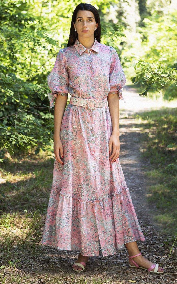 Belted Printed -Blend Maxi Shirt Dress