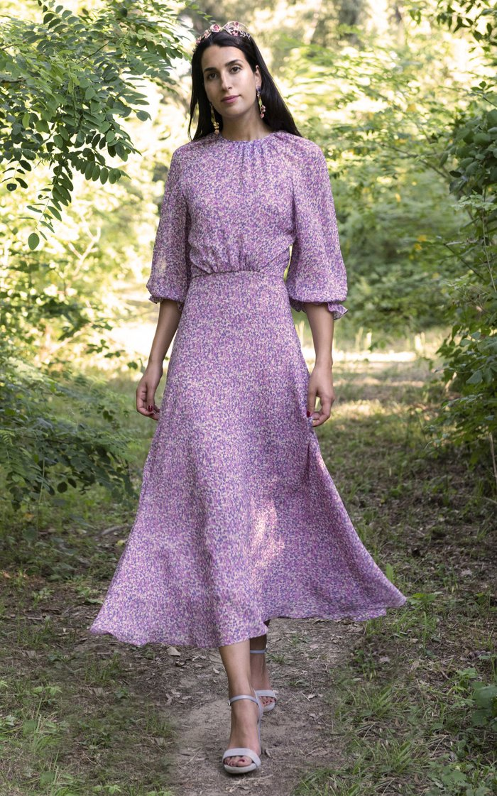 Open-Back Printed Georgette Midi Dress