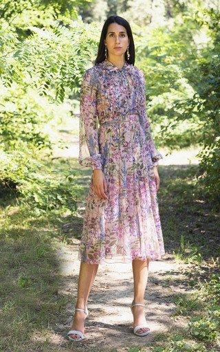 Ruffled Printed Georgette Midi Shirt Dress