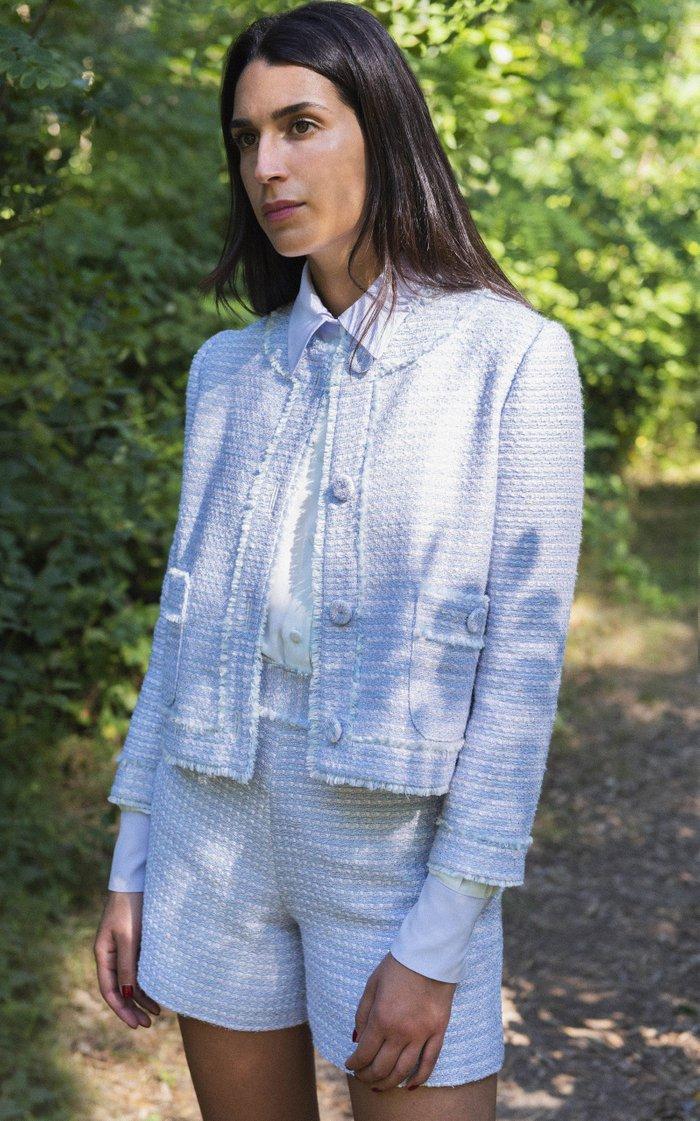 Fringed Tweed Cropped Blazer