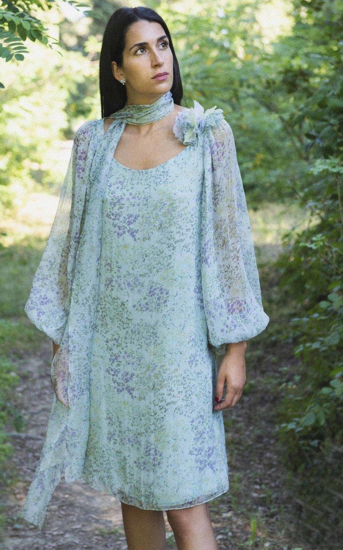 Tie-Neck Printed Silk Chiffon Midi Dress