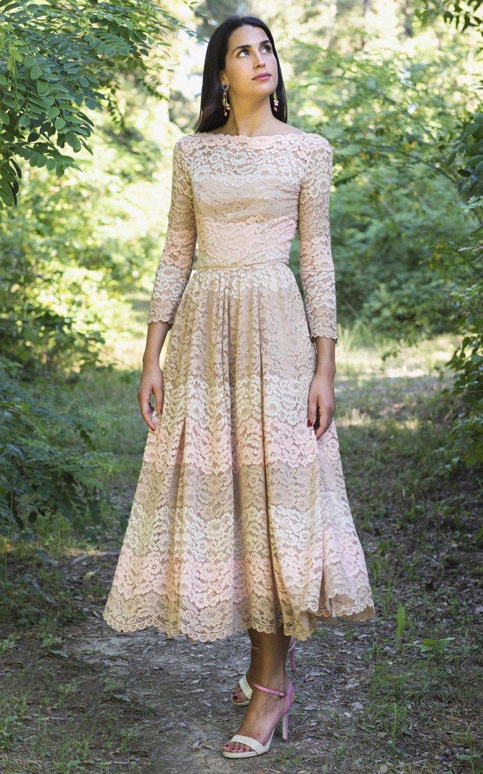 Striped Lace Midi Dress