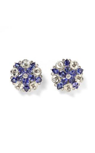 Aletto Brothers Sapphire, Diamond & Rock Crystal Flower Ear Clips