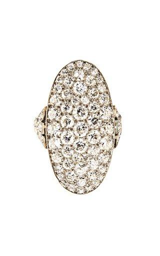 Art Deco Platinum, & Diamond Shield Ring