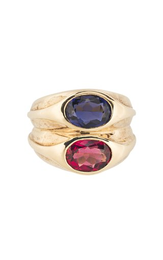 Bulgari Yellow Gold, Ruby & Sapphire Double Ring