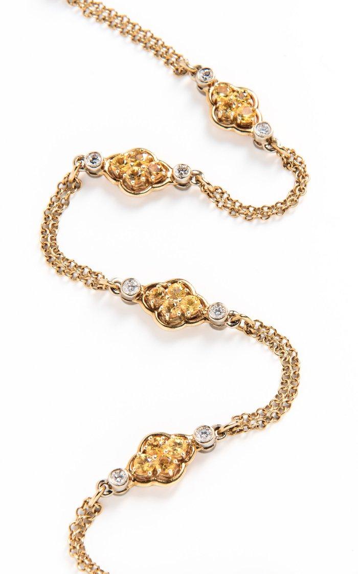 David Morris Gold, Yellow Sapphire & Diamond Double Sided Long Chain