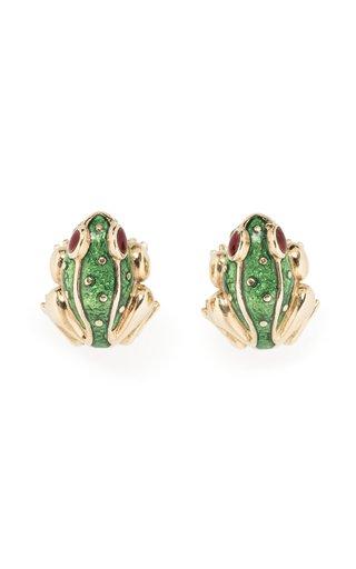 David Webb Enamel Frog Earrings
