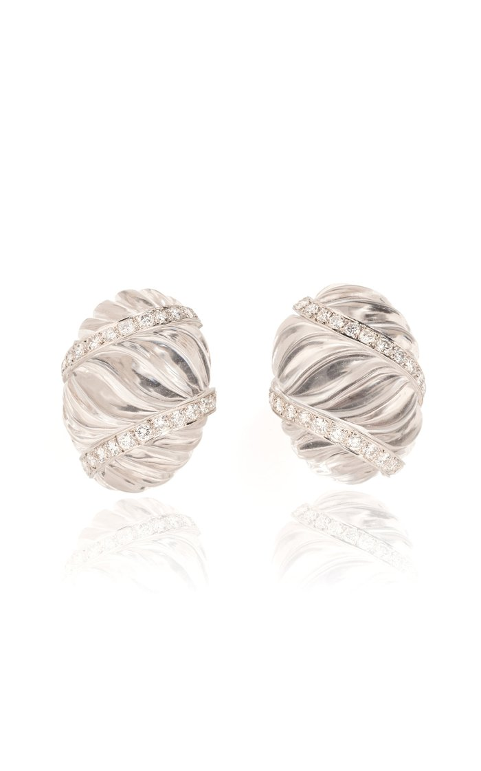 David Webb Rock Crystal & Diamond Ear Clips