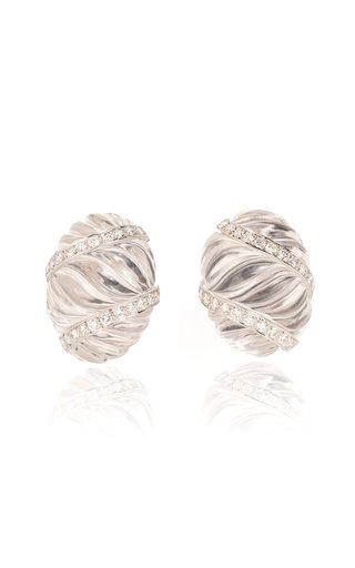 David Webb Rock Crystal & Diamond Ear Clips