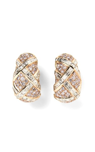 Harry Winston Colored Diamond & Diamond Earrings