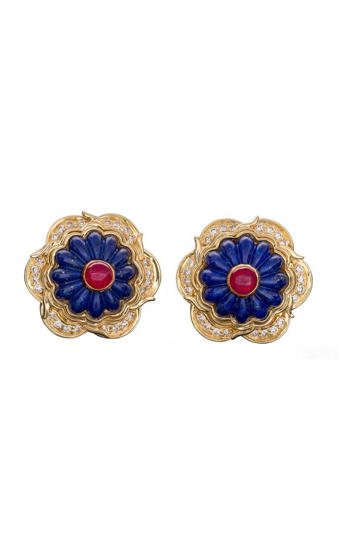 Harry Winston Lapis, Ruby & Gold Earrings
