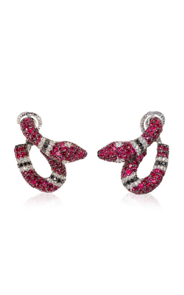 Michele Della Valle Ruby & Black Diamond Snake Earrings