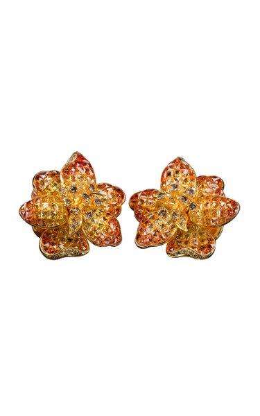 Moussaieff Yellow & Orange Sapphire Flower Ear Clips