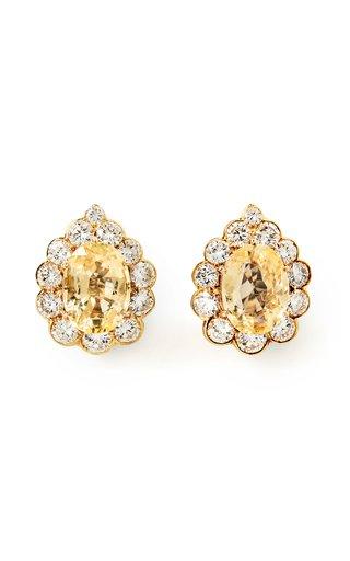 Van Cleef & Arpels 18K Yellow Gold, , Diamond & Yellow Sapphire Ear Clips