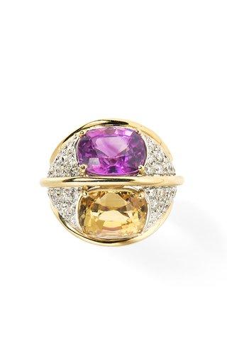 Verdura 18K Yellow Gold, & Diamond Dome Ring With Pink & Yellow Sapphires