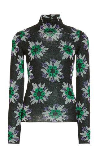 Metallic Floral Jacquard Mock-Neck Top