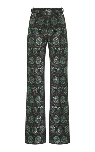 Metallic Floral Jacquard Straight-Leg Trousers