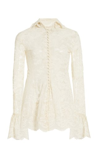 Pleated Stretch-Lace High-Neck Top