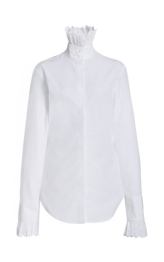 Ruffled Cotton Poplin High-Neck Shirt
