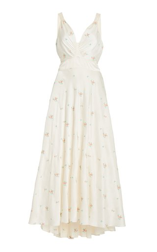 Floral-Embroidered Satin Midi Dress