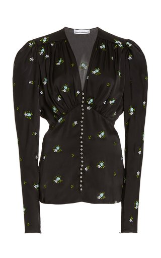 Floral-Embroidered Satin Top
