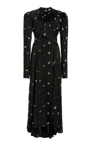 Floral-Embroidered Satin Maxi Dress