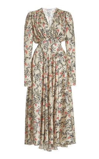 Gathered Floral Crepe Midi Dress