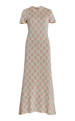 Ring-Detailed Floral-Jacquard Midi Dress