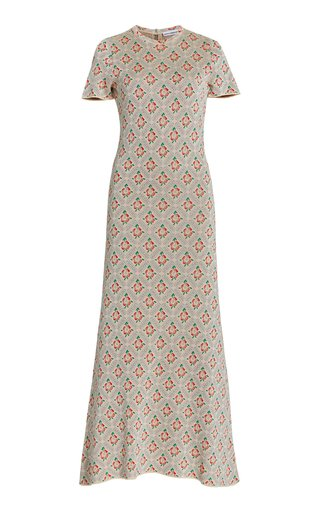 Ring-Detailed Floral-Jacquard Midi Dress