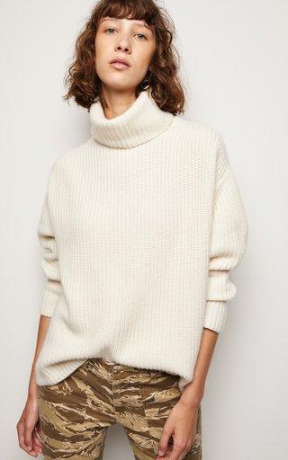 Layla Oversized Ribbed-Knit Cashmere Turtleneck Sweater