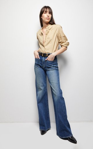 Nili Lotan Florence Stretch High Rise Wide Leg Jeans In Classic Wash