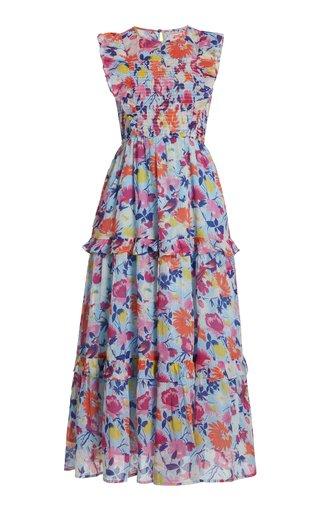 Iris Smocked Printed Organic Cotton Midi Dress