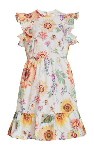 Perla Ruffled Printed Cotton Mini Dress